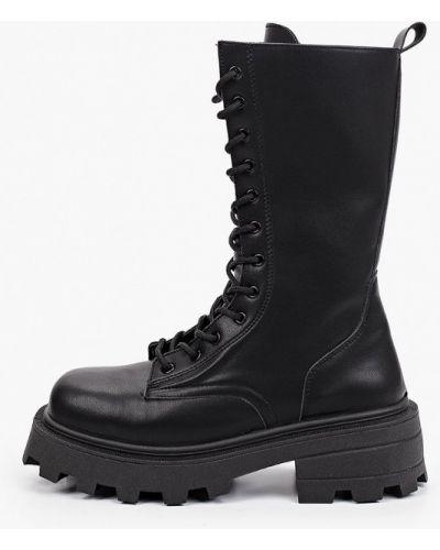 Черные кожаные ботинки Topshop