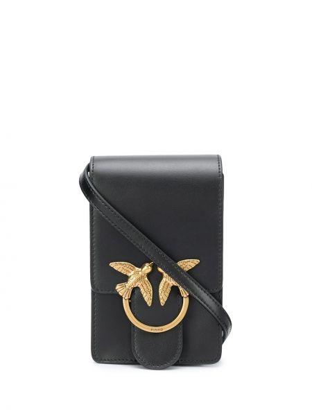 Золотистая черная кожаная сумка через плечо Pinko