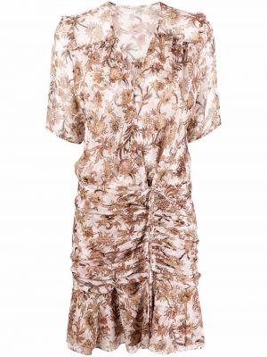 Шелковое розовое платье мини с короткими рукавами Veronica Beard