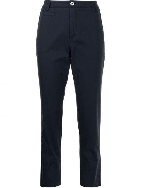 Хлопковые синие укороченные брюки на молнии Giorgio Armani