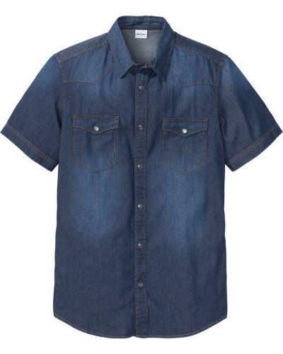 Джинсовая рубашка с карманами темно-синий Bonprix