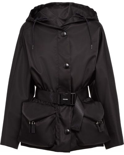 Z rękawami czarny długa kurtka z kapturem Prada
