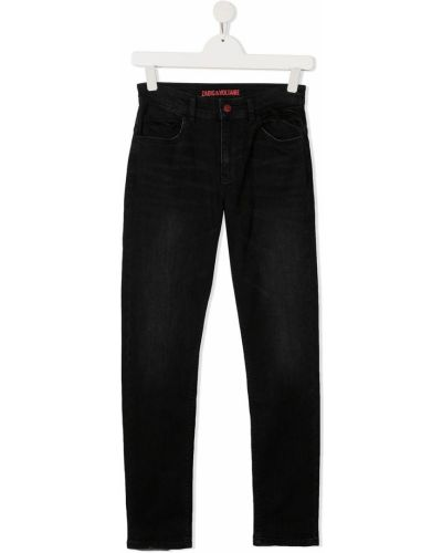 Классические прямые черные прямые джинсы с вышивкой Zadig & Voltaire Kids