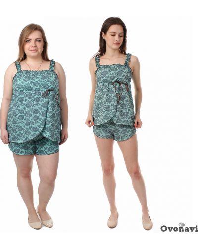 Пижама с шортами на бретелях в полоску Грандсток