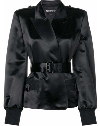 Шелковый черный удлиненный пиджак с поясом Tom Ford