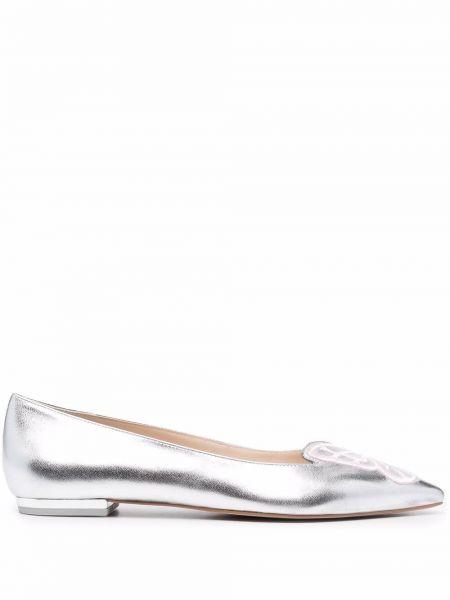 Серебряные балетки с острым носом Sophia Webster
