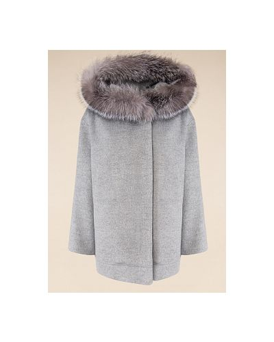 Серое шерстяное пальто с капюшоном каляев