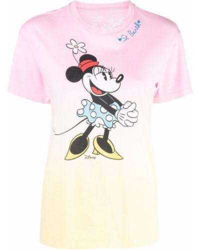 Хлопковая прямая футболка с вышивкой с вырезом Mc2 Saint Barth