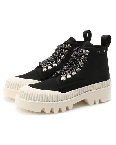 Текстильные черные ботинки с подкладкой Proenza Schouler