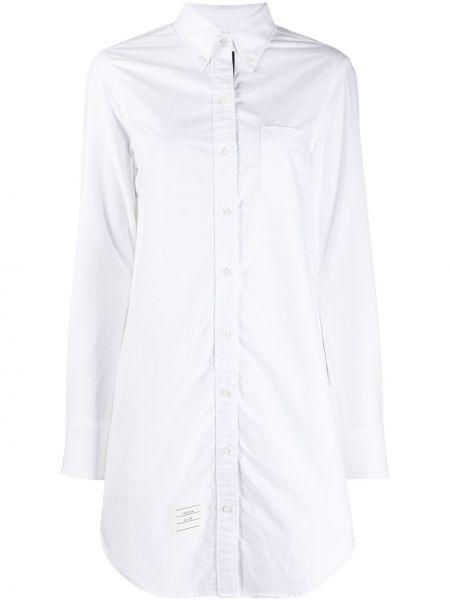 Белое платье макси с воротником с длинными рукавами с карманами Thom Browne