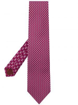 Różowy krawat z jedwabiu z printem Salvatore Ferragamo