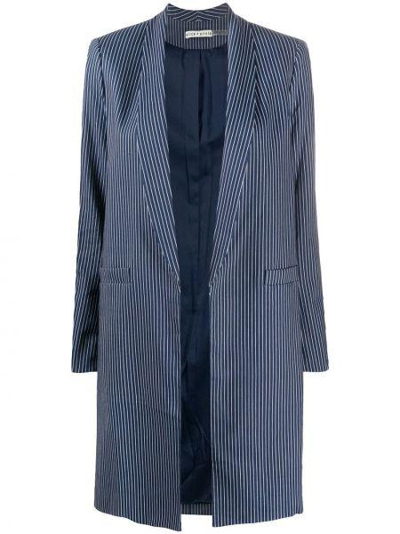 С рукавами синий прямой пиджак из вискозы Alice+olivia