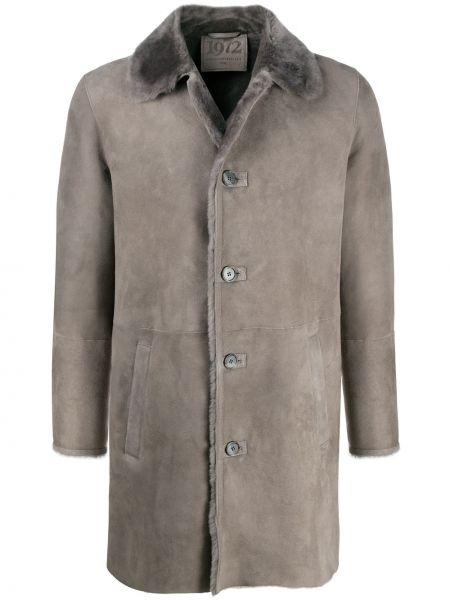 Кожаное серое однобортное длинное пальто на пуговицах Desa 1972
