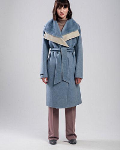 Прямое шерстяное длинное пальто с воротником Alcato