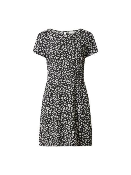 Czarna sukienka mini rozkloszowana z wiskozy Review