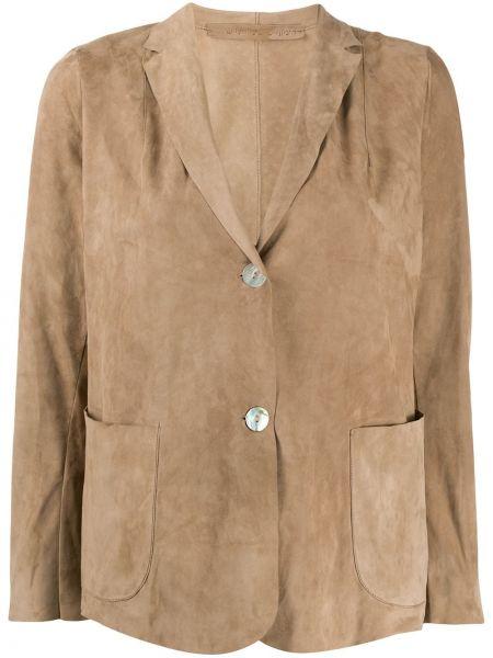 Кожаный пиджак на пуговицах с разрезом Salvatore Santoro