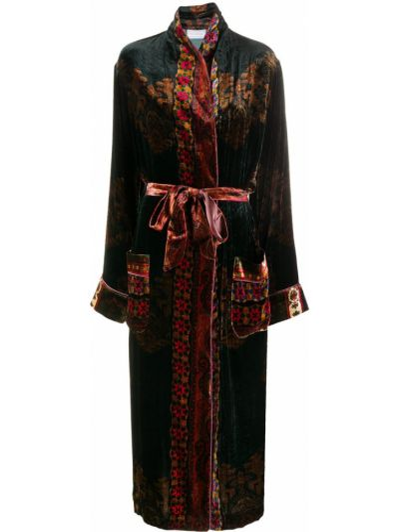 Шелковое черное длинное пальто с поясом Pierre-louis Mascia