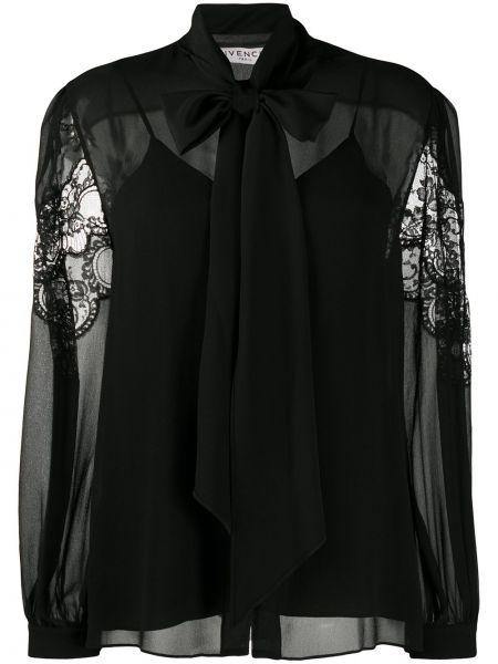 Jedwab czarny ażurowy bluzka z długim rękawem z długimi rękawami Givenchy