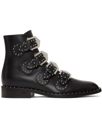 Czarny skórzany buty obcasy na pięcie okrągły Givenchy