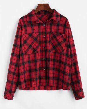 Рубашка в клетку с карманами Zaful