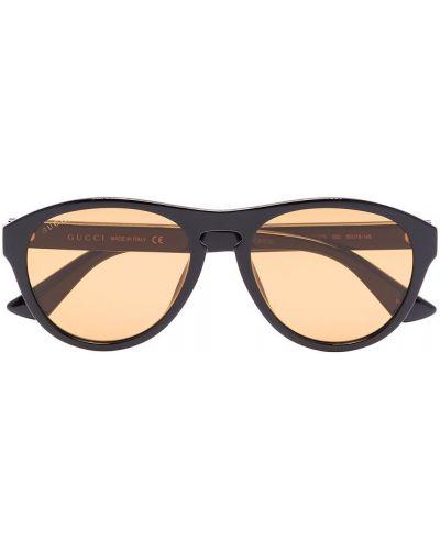 Акриловые черные солнцезащитные очки круглые Gucci Eyewear