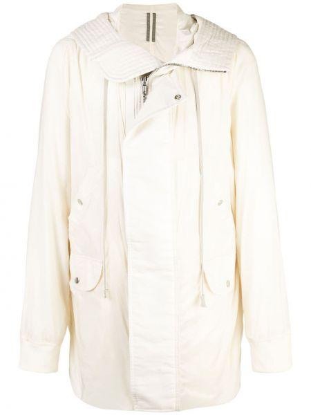 Beżowy płaszcz z kapturem bawełniany Rick Owens Drkshdw