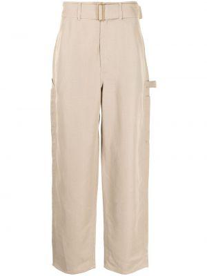 Beżowe lniane lniane spodnie Dunhill