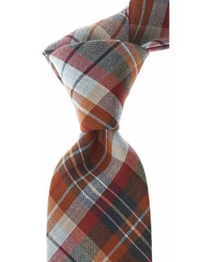 Czerwony krawat bawełniany w kratę Belvest