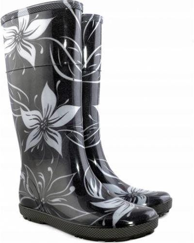 Czarne kalosze w kwiaty Demar