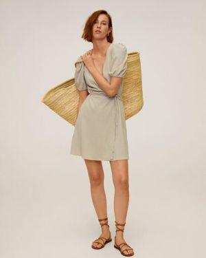 Платье мини в горошек с запахом Mango