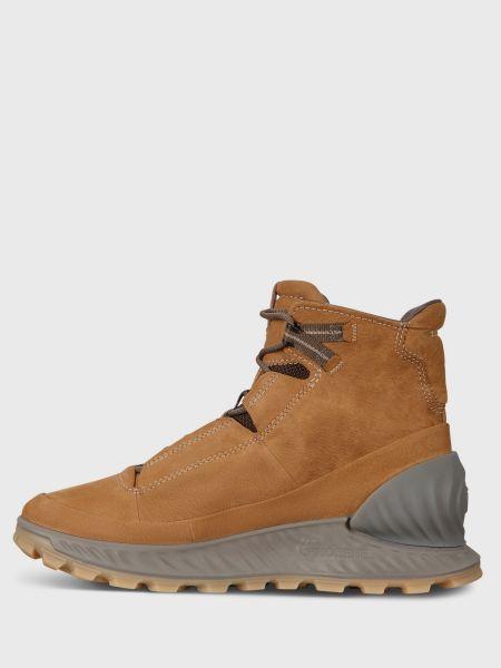 Коричневые ботинки на шнуровке из нубука Ecco