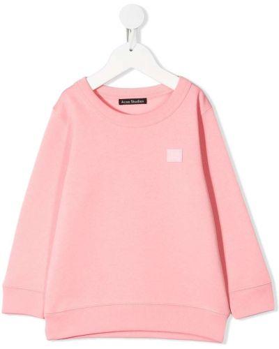 Różowa bluza z długimi rękawami bawełniana Acne Studios Kids