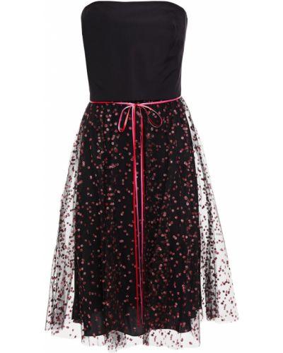 Шелковое платье - черное Monique Lhuillier