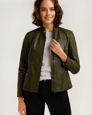 Зеленая кожаная куртка с подкладкой из натуральной кожи Finn Flare