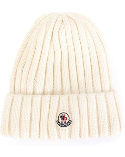 Вязаная шапка шерстяная с логотипом Moncler