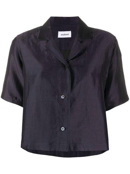 Синяя прямая рубашка с коротким рукавом на пуговицах из вискозы Soulland