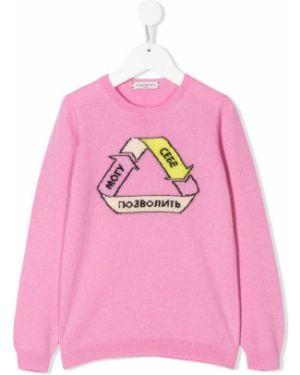 С рукавами розовый шерстяной топ с круглым вырезом Natasha Zinko Kids