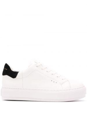 Кожаные белые кроссовки на шнуровке на плоской подошве Kurt Geiger London