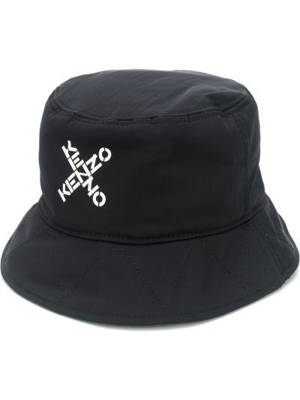Czarny kapelusz z nylonu z printem Kenzo