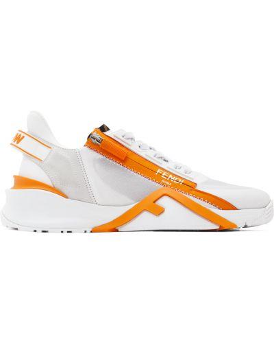Замшевые кроссовки - белые Fendi