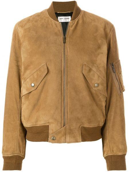 Коричневая классическая кожаная куртка на молнии с манжетами Saint Laurent