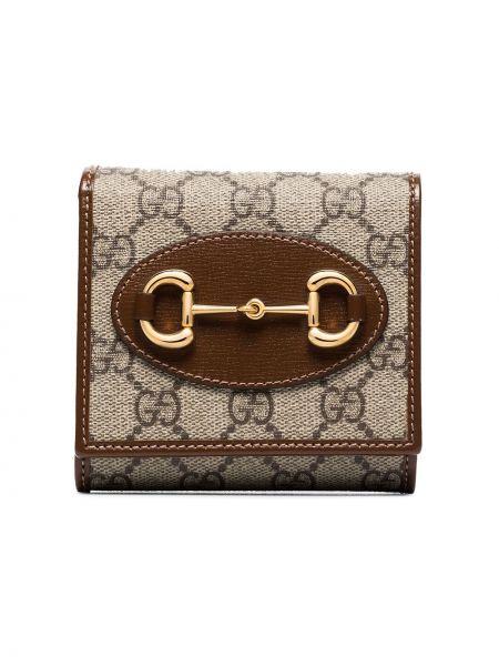 Brązowy klasyczny portfel skórzany z prawdziwej skóry Gucci