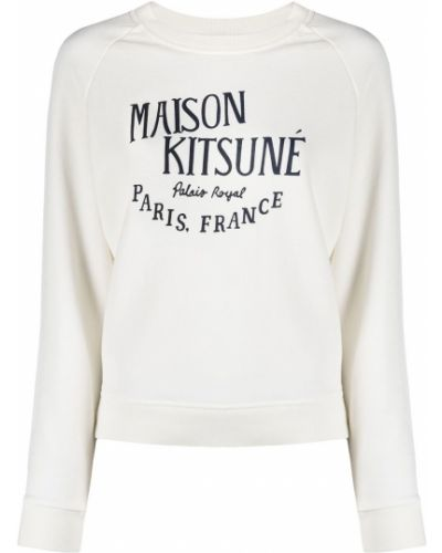 Белый джемпер с вырезом круглый Maison Kitsuné