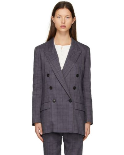 Малиновый удлиненный пиджак двубортный для полных Isabel Marant étoile