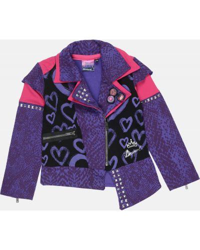 Фиолетовый пиджак с вышивкой Desigual