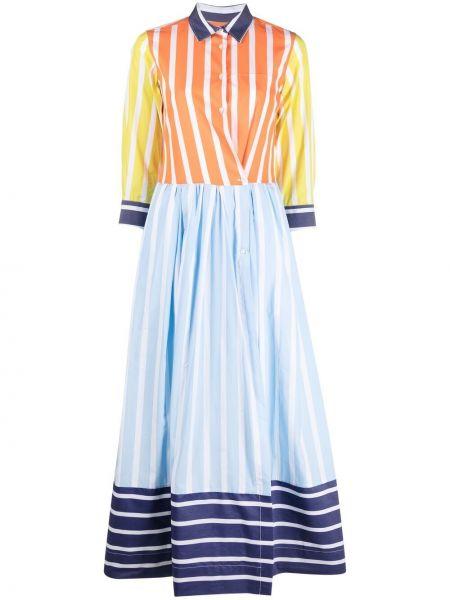 Хлопковое синее платье с воротником Sara Roka