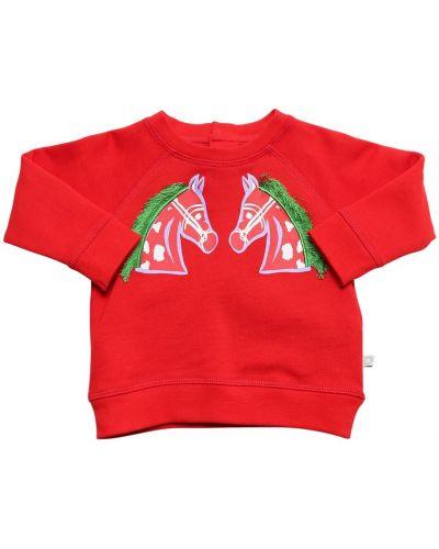 С рукавами хлопковый красный свитшот Stella Mccartney Kids