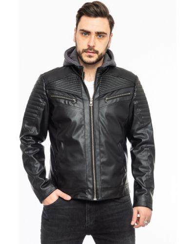 Кожаная куртка с капюшоном - черная Rozetka