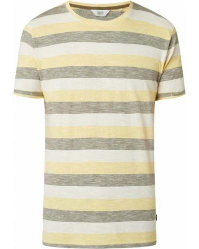 Żółty t-shirt bawełniany w paski !solid