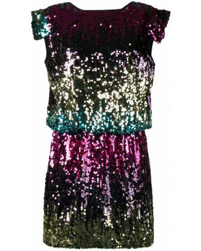 Розовое приталенное платье мини с пайетками с вырезом 5 Progress